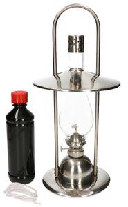Petroleumlampe 40cm mit Griff aus Edelstahl mit Lampenöl und Ersatzdocht