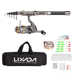 Lixada Teleskop Angelrute und Reel Combo Full Kit Angelrad LE3000 + 2.1M Angelrute Carbon-Faser + Spinning + Tragetasche
