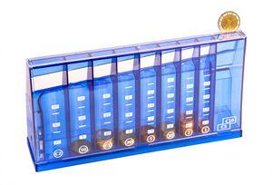 Euro Münzsortierer Spardose blau 24 cm - Mit Skala - Geld-Zähler Abschließbar mit Schlüssel