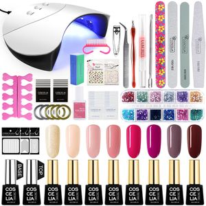COSCELIA UV Gellack 36W UV/LED Nagellampe Starterset 8 Farben uv Nagelset Gel Lacken Set  für Nageldesign