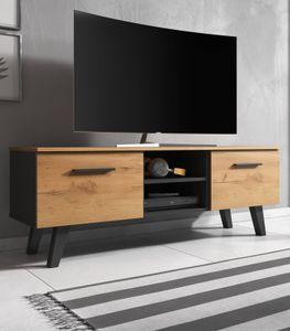 TV Lowboard Nord in Eiche Gold und schwarz skandinavisch TV Unterteil 140 x 52 cm Fernsehtisch