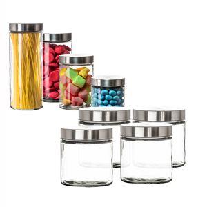 Vorratsgläser 4x 0,85 Liter Glas Schraubglas Lebensmittelglas Edelstahldeckel mit Schraubverschluss