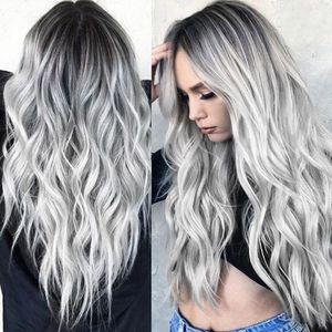 y Gradient Black Party Perücken Langes lockiges Haar Mischfarben Synthetische Perücke