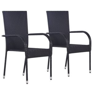 Stapelbare Gartenstühle 2er Set Garden Chair Esszimmerstühle Sessel | Garten Stapelstuhl Hochlehner Poly Rattan Schwarz - 7144