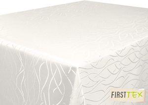 First-Tex Damast Streifen Tischdecke eckig 90x90 creme