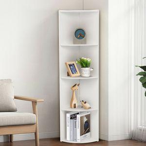 Eckregal Bücherregal Winkelregal Bücherregal Küchenregal Hängeregal Badregal mit 4 Ablagen Weiß