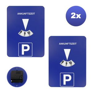 2 Stück Mitlaufende PKW Parkscheibe | EAXUS® Elektronische Parkuhr | Run Stop Schalter