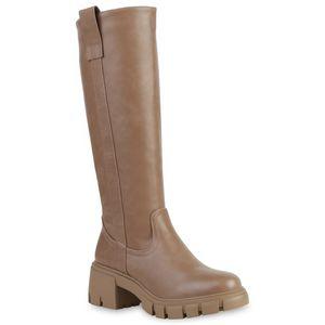VAN HILL Damen Klassische Stiefel Plateau Vorne Profil-Sohle Schuhe 837676, Farbe: Khaki, Größe: 40