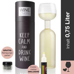 Wine Lovers Weinflasche Glas - Weinglas Flasche XXL inklusive Kreidemarker - inkl. Reinigungsperlen