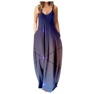 LOHILL Damen Sommer Boho Langes Kleid Damen Urlaub Strand Print Maxikleider übergröße, Stil15, 3XL