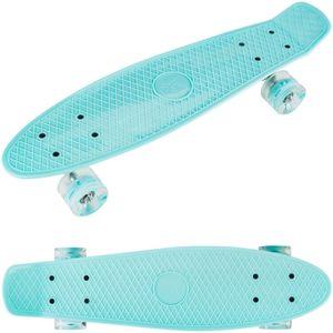 Skateboard Komplettboard Retro Board LED-Räder 60 x 45 mm für Kinder und Jugendliche - Türkis