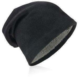 Strick Beanie Unifarbe Schwarz-L