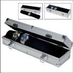SAFE 255 ALU Uhrenaufbewahrungsbox Herren für 7 Uhren - mit schwarzer Samtrolle als Schmuckhalter - transparenter Deckel - Maße: Ca. 330 x 75 x 90 mm
