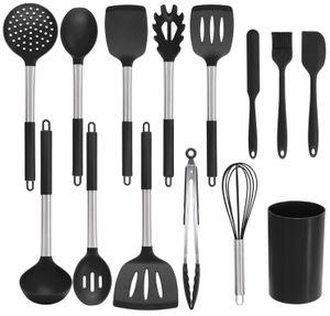 Küchenhelfer Küchenutensilien Set Silikon Küchenutensilien Küchenutensilien Home Kitchen Cooking Tools Küchenhelfer Utensilien Kochgeschirr Kitt (schwarz)