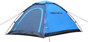 High Peak Kuppelzelt 2 Personen mit Moskitoeingang, 1500 mm Wassersäule, 190T Polyester atmungsaktiv und wasserdicht, einfacher und schneller Aufbau, Blau-grau, inkl. kleine Tragetasche