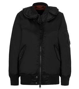 DIESEL Bomber-Jacke modische Damen Frühlings-Jacke mit Rüschen am Ausschnitt Schwarz, Größe:XS
