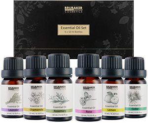BRUBAKER 6er-Set Ätherische Öle Aromatherapieöle 6 x 10 ml Naturrein - Lavendel Rose Rosmarin Kamille Lemon Zeder - Duftöl für Diffusor Luftbefeuchter Massage Aromatherapie Körperpflege