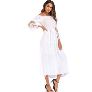 Sexy Frauen Maxi Langes Kleid weg von der Schulter Lace Flare Sleeve elegante Abendgesellschaft Boho Kleid【 weiss XL】