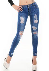 Röhren Stretch Jeans im Destroyed-Style mit Löcher, Farbe: Dunkelblau, Größe: 36