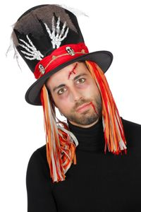 Kostüm Zubehör Hut Zylinder Voodoo Skelett Zombie Hexe Halloween
