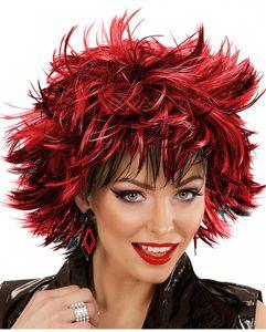 Schwarz-rote Steamy Perücke als Kostüm Zubehör für Halloween & Karneval