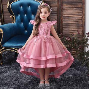 Kinder Partykleid Blumenmädchen Tüll Prinzessin Tutu Spitzen Hochzeit Abendkleid, Pink, 4-5 Jahre