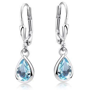 MATERIA Blautopas Ohrringe blau Tropfen mit Brisuren - Ohrhänger Damen Silber 925 Schmuck rhodiniert SO-448-Blau