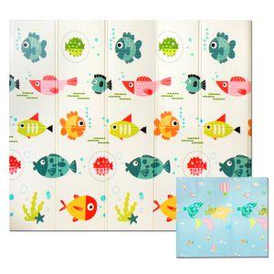 Krabbelmatte Spielmatte Baby Schadstofffrei Faltbar Spielunterlage Wasserdicht, Farbe:Straße&Auto & Tiere