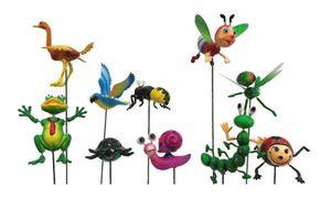 Gartenstecker Blumenstecker Gartendekoration fröhliche Tiere 10 Stück sortiert bewegen sich im Wind