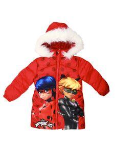 Miraculous Ladybug Cat  Kinder Winterjacke Jacke mit Kapuze Rot Mädchen 116