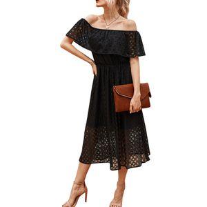 Frauen Sommerkleider einfarbiges Kleid aus der Schulter Hollow Out Hohe Taille Elegantes Abendkleider ,Schwarz-XL