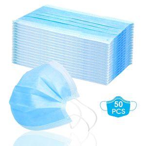 50Stück Maske 3-lagig Einwegmaske Atmungsaktiv Staubschutz Maske Infektionsschutz Gesichtsmaske Elastischen Ohrschlaufen Schutzmaske Schützt vor Verschmutzungen Atemschutzmaske(Blau)