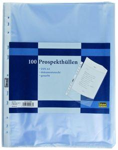 Idena Prospekthülle A4, 100 Stück, genarbt, Folienstärke 0,04 mm