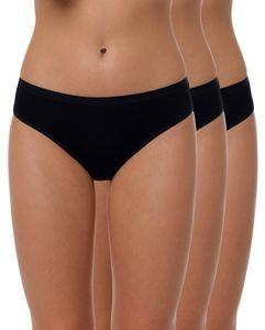 Yenita® Bambus Bikini Slip 3er Set M schwarz
