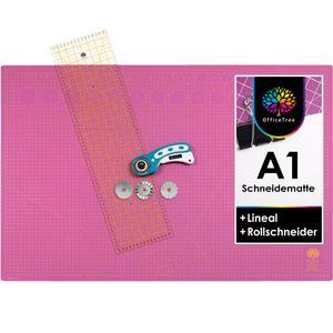 OfficeTree Set Schneidematte A1 pink/lila + Rollschneider mit 3 Klingen + Lineal 60x16 cm - für professionelle Schnittarbeiten