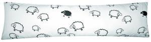 Seitenschläferkissen Bezug 40x145cm - Schafe Lämmer in Weiß und Schwarz -  100% Baumwolle Stillkissenbezug (99-2-B)