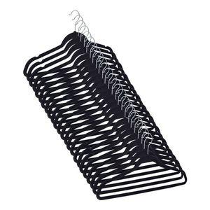 Highliving® 50 Stück samtige, rutschfeste schwarze Kleiderbügel mit drehbaren Haken