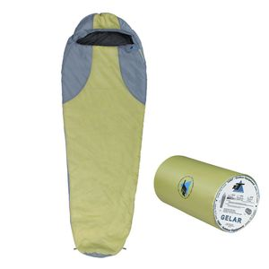 10T Gelar - Mumien-Schlafsack bis -5°C mit Kapuze, 210x75 cm, 1000g leicht, 2-3 Jahreszeiten, Camping & Trekking