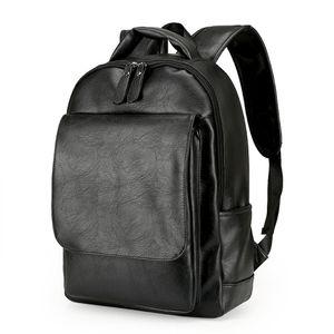 Herren Leder Large Capacity Rucksack Laptop Reisetasche