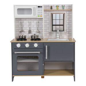Coemo Kinderküche Klara Holz Grau mit Zubehör Spielküche