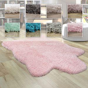 Fellteppich Kunstfell XXL Imitat Flokati Stil Hochflor Versch. Größen u. Farben, Grösse:80x120 cm, Farbe:Weiß