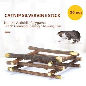 20 STÜCKE Katze Katzenminze Spielzeug Silvervine Stick Natürliche Actinidia Polygama Zahnreinigung Spielen Kauen Klaue Spielzeug Heimtierbedarf