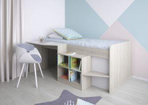 Polini Kids Kinderbett mit Schreibtisch und Regal in Ulme 195,2 x 80 x 140,7 cm
