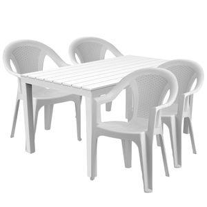 Sitzgarnitur Bistrogarnitur 5-teilig Weiß Holzoptik