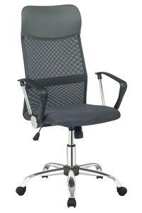 SalesFever Bürostuhl mit Armlehnen | Bezug Stoff und Kunstleder | Gestell Chrom | Mesh - Design | höhenverstellbar | B 62 x T 60 x H 111-121 cm | schwarz