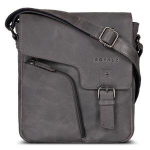 ROYALZ Vintage Ledertasche Herren Klein Männer Schultertasche Messenger Bag Herrenhandtasche Umhängetasche für 10.1 Zoll Tablet iPad, Farbe:Navy Grau