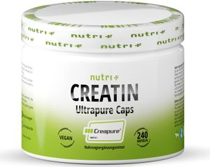 Creatin Creapure 240 Kapseln - CREATINE-MONOHYDRAT - 99,99% rein - höchste Dosierung - Nutri-Plus Vegan Kreatin Caps - 750mg Creatinmonohydrat pro Creatinkapsel