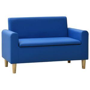 """""2-Sitzer-Kindersofa,Stoffsofa,Kindersessel Kindercouch Sofa,Schlafsofa Vintage Blau Kunstleder Size:82,5 x 41,5 x 52,5 cmDE4945"