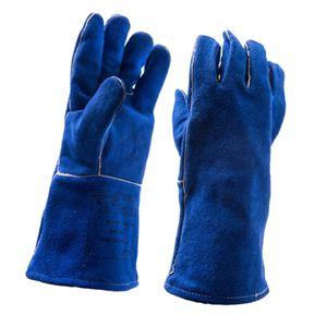 Lange Hitzebeständige Handschuhe Schweißerhandschuhe Arbeitshandschuhe Sicherheitshandschuhe für Schweißen Blau