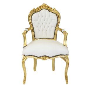 Barock Stuhl Barockstuhl Weiß Gold Kunstleder Antik Retro Style Luxus Deko Design Lounge TOP